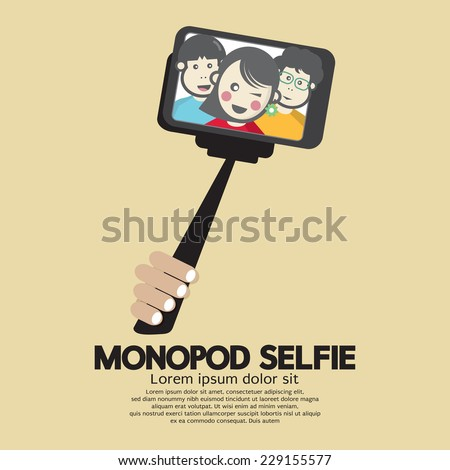 Monopod Selfie Self Portrait Tool For Smartphone Vector Illustration - stock vector
