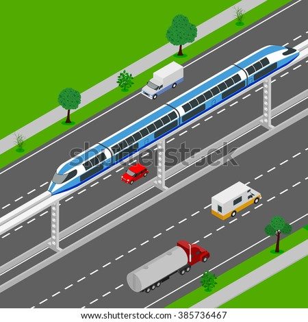 Monorail 3d isometric illustration. High-speed train. High tech world. Monorail train. modern city, high-speed transport for passengers. Urban transport movement. - stock vector