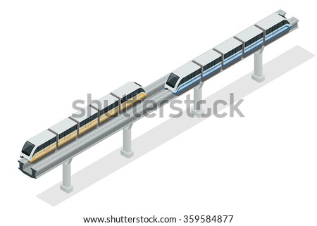 Monorail train. Sky Train. Vector isometric illustration of a Sky Train. Vehicles designed to carry large numbers of passengers. Isolated vector of modern high speed train. - stock vector