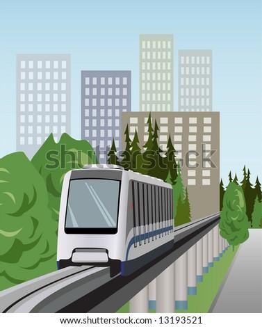 monorail train vector - stock vector