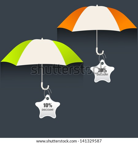 Monsoon offer and sale stickers, tags and labels with open umbrellas. - stock vector