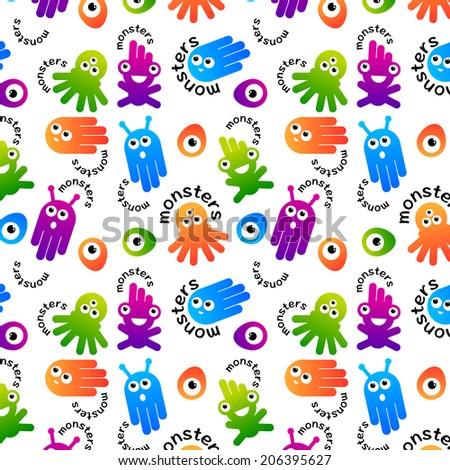 Monster and alien pattern design. Vector illustration - stock vector
