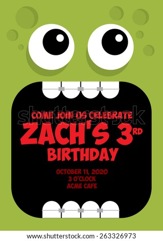 monster birthday card template vector/illustration - stock vector