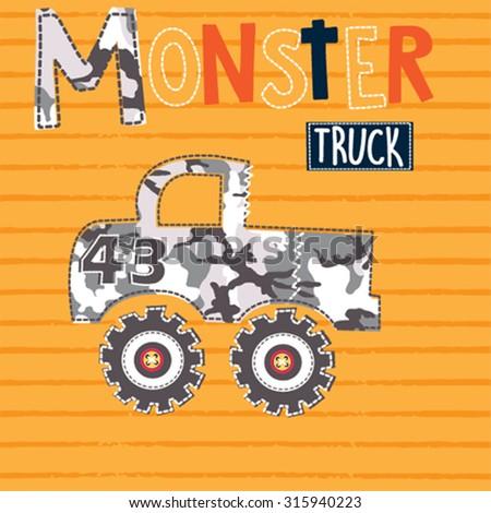 monster car on striped background vector illustration - stock vector
