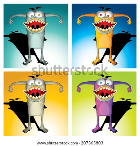 Monster character set in different colors and backgrounds - stock vector