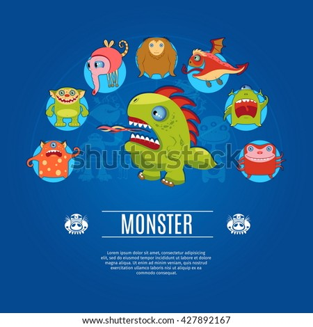 Monster Concept Icons Set. Vector illustration - stock vector