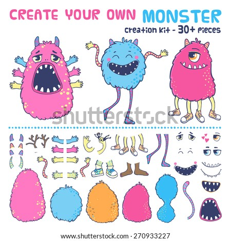 Monster creation kit. Create your own monster. - stock vector