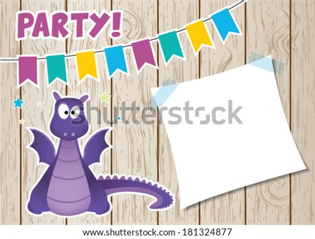 Monster dragon party card. Vector illustration - stock vector