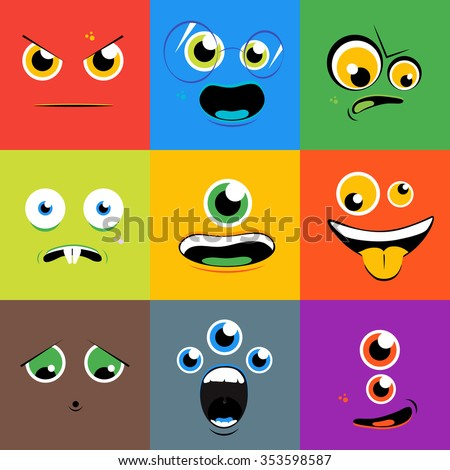 Monster faces icons set in flat style. Cartoon eye character, person with tongue, creature mutant, vector illustration - stock vector
