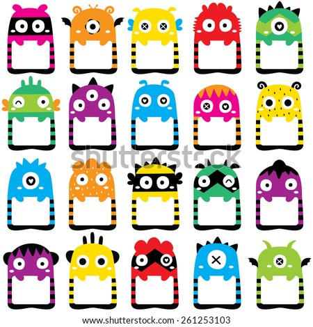 monster frames clip art set - stock vector