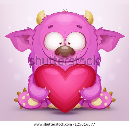 Monster in Love - stock vector