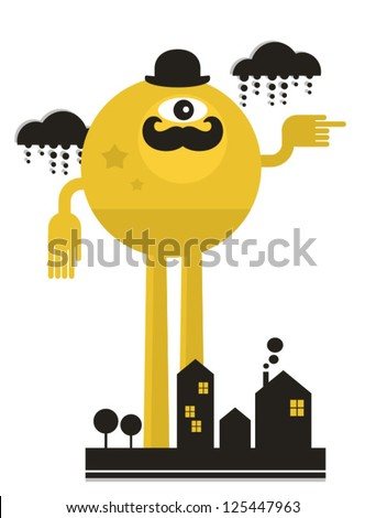 Monster in the city. Vector illustration. - stock vector