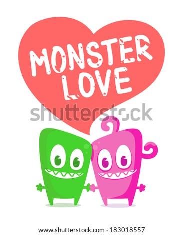 Monster love - stock vector