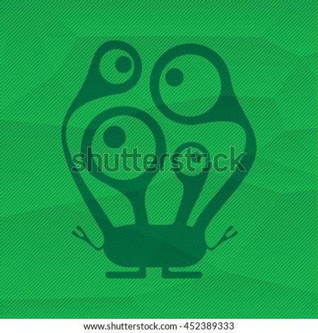 Monster on green polygonal background. Cartoon illustration - stock vector