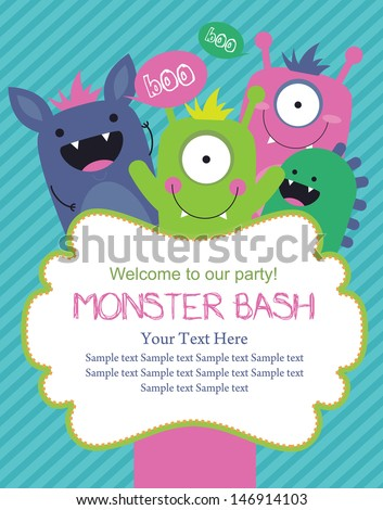 monster party card design. vector illustration - stock vector