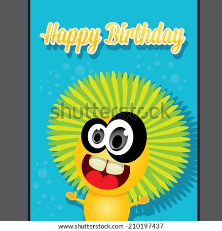 monster party happy birthday card design template. vector illustration ...