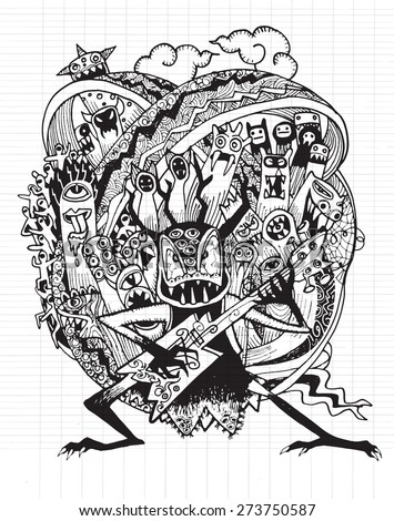 Monster rock band playing Rock music drawing style Pen on Paper Notebook Doodle Sketch ,Vector illustration. - stock vector