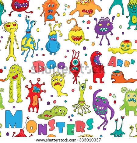 Monster seamless pattern. Hand drawn design for Halloween, Birthday and Baby Shower greeting cards, fabric, wrapping paper, invitation, stationery.Vector illustration.