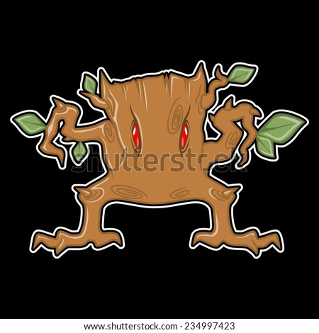 monster tree on a black background - stock vector