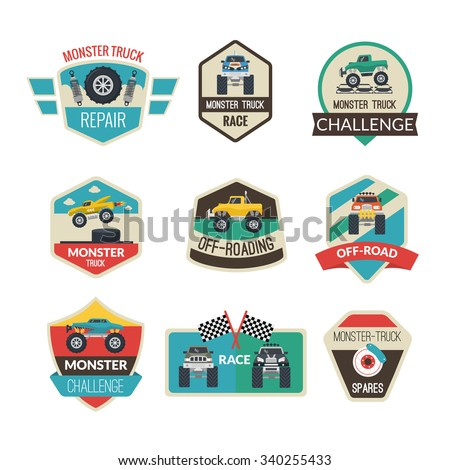 Monster truck emblems set with high power vehicles isolated vector illustration - stock vector