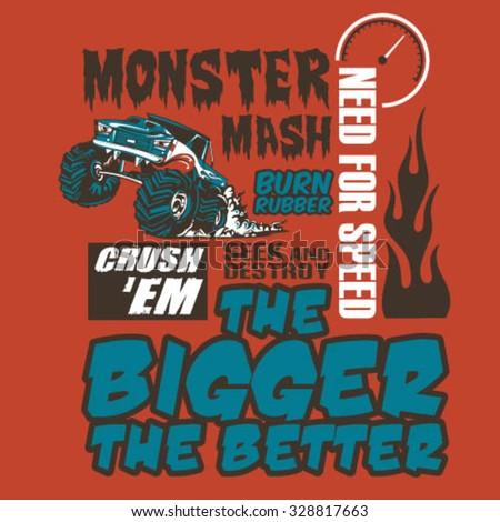 Monster Truck Poster - stock vector