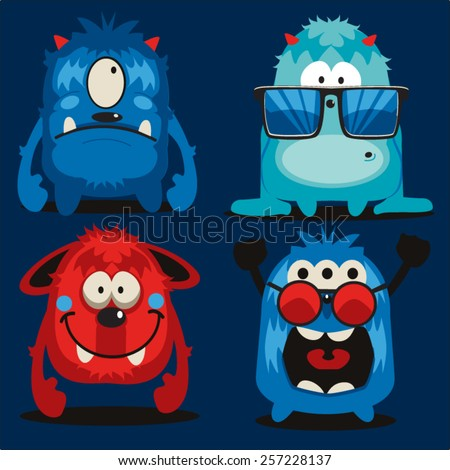 monster vector design set - stock vector