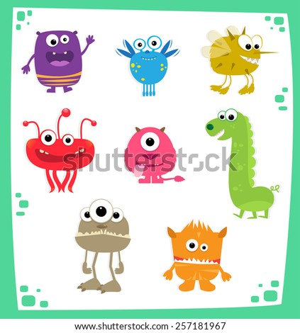 Monsters - Cute cartoon set of eight colorful monsters. Eps10 - stock vector