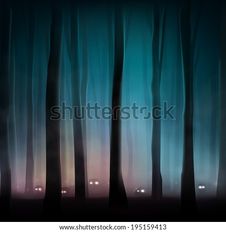 Monsters in dark forest, eps 10 - stock vector