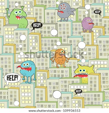 Monsters in the city seamless texture. Vector pattern. - stock vector