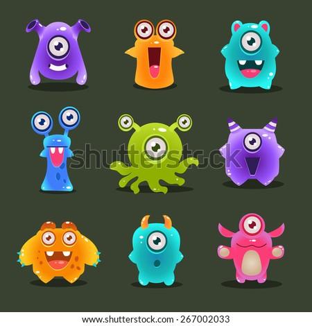 Monsters lovely vector illustration - stock vector