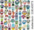 Monsters - vector set - stock vector