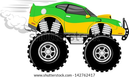 monstertruck race car 4x4 cartoon isolated on white background - stock vector