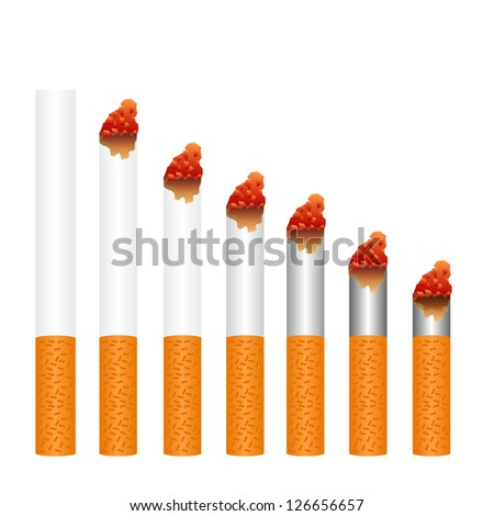 montage of cigarettes during different stages of burn. Each is isolated on white.eps10 - stock vector