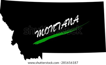 Montana map vector in black and white background, Montana map outlines in a new design - stock vector