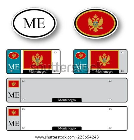 montenegro auto set against white background, abstract vector art illustration, image contains transparency - stock vector