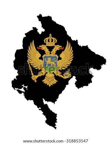 Montenegro vector map isolated on white background. High detailed silhouette illustration. Montenegro coat of arms, seal or national emblem, isolated on white background. - stock vector