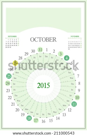 Monthly calendar for 2015. Highlighted saturday, sunday, full moon (UTC). 3:2 aspect ratio. Editable. Blank space for logo or image on the top. October. - stock vector