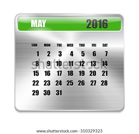 Monthly calendar for May 2016 on metallic plate, orange holidays. Can be used for business and office calendars, website design, prints etc. Vector Illustration - stock vector