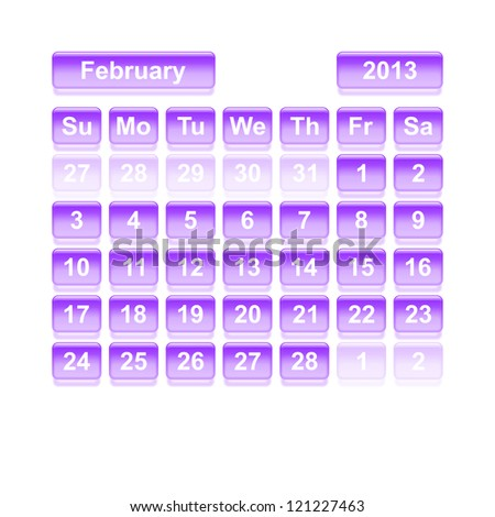 Monthly calendar for New Year 2013. February. - stock vector