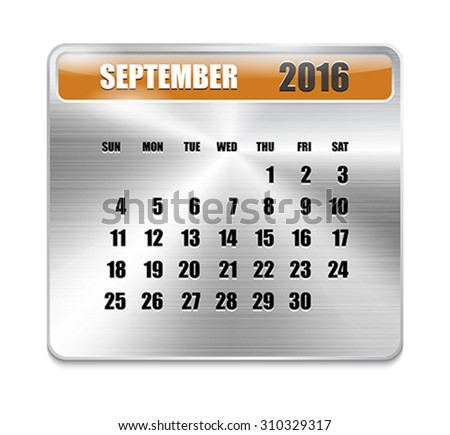 Monthly calendar for September 2016 on metallic plate, orange holidays. Can be used for business and office calendars, website design, prints etc. Vector Illustration - stock vector
