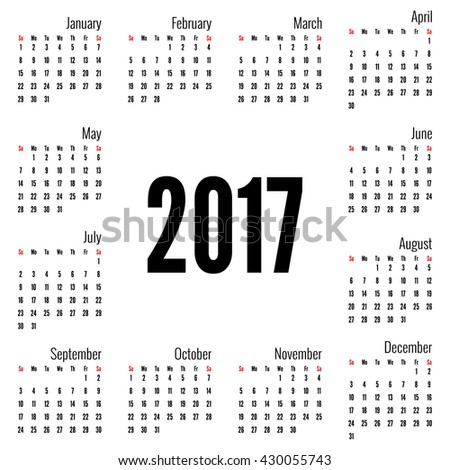 Monthly Calendar for 2017.  Simple month grid template. Vector. white - stock vector