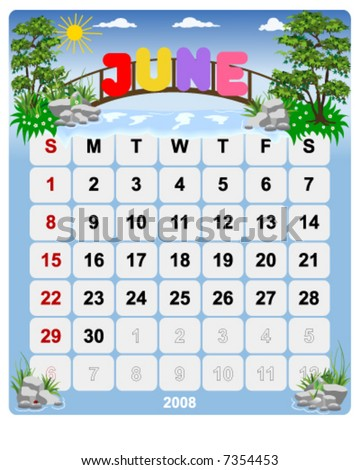 Monthly calendar June - Vector file contains separate layers: US Style, start on Sunday + Europe Style, start in Monday. - stock vector
