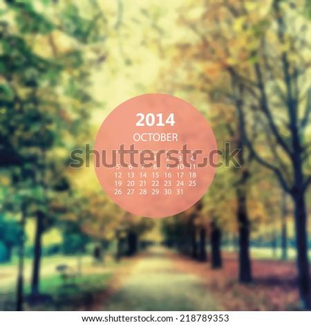 Monthly Calendar 2014, October - Vector Illustration Design - stock vector