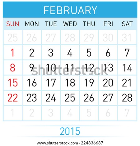 Monthly calendar template for February of year Twenty Fifteen - stock vector