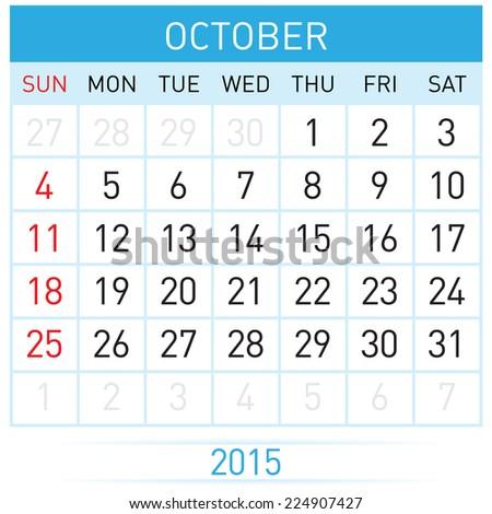 Monthly calendar template for October of year Twenty Fifteen - stock vector