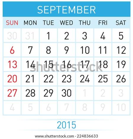 Monthly calendar template for September of year Twenty Fifteen - stock vector