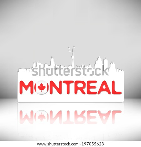 Montreal Canada skyline silhouette vector design. Greeting card illustration. - stock vector
