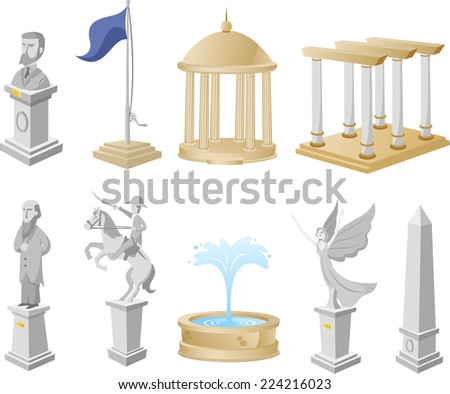Monument Icon Symbol Statue Architecture Tourism Collection vector illustration.  - stock vector