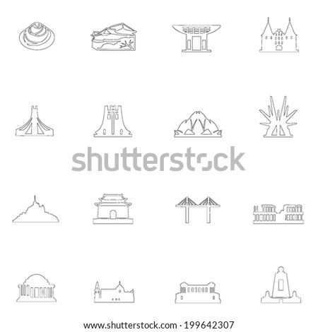 Monuments icons line drawing  by hand Set 2 - stock vector