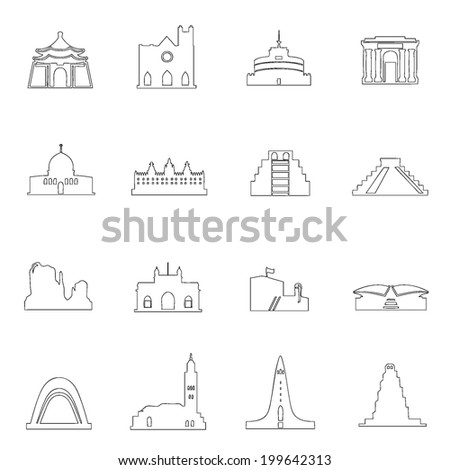Monuments icons line drawing  by hand Set 7 - stock vector